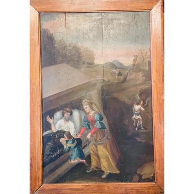 Huile Sur Panneau. Scène Religieuse. D'époque XVII Ème.