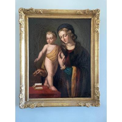 Vierge à L'enfant, Huile Sur Toile.