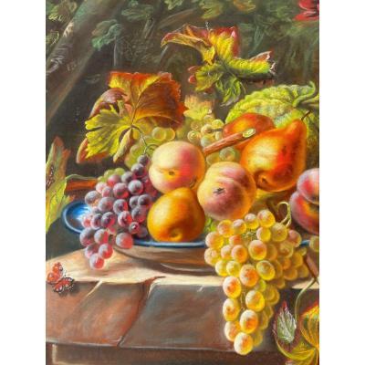 Pastel. Nature Morte Aux Fruits, Fleurs Et Gibier.
