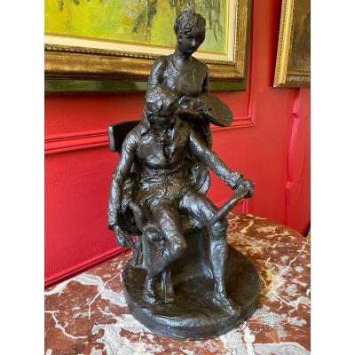 Bronze  cire perdue «l'inspiration Du Peintre.» Alfred Lenoir ( 1850-1920 ).