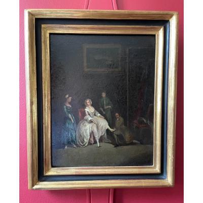 Huile Sur Panneau D'époque XVIII Ème. Scène D'intérieur.