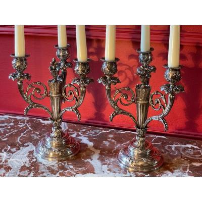 Paire De Candélabres ou chandeliers  En Bronze Argenté De Style Louis XVI.