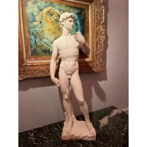 Sculpture Marbre Blanc . David  de Michel - Ange  XXÈme