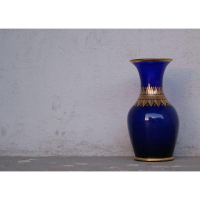 Vase En Verre Bleu Doré A La Feuille d'Or