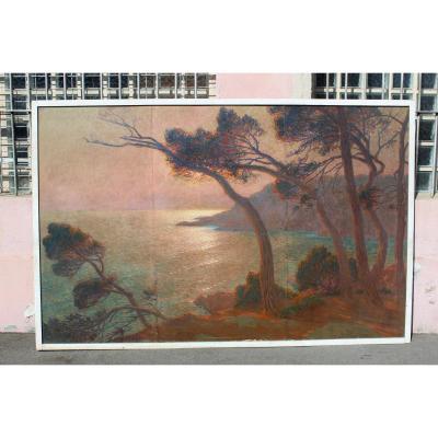 Hst Sunset On The Coast Signed Marcel Poggioli