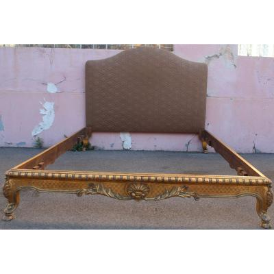 Pair Of Golden Wood Bed
