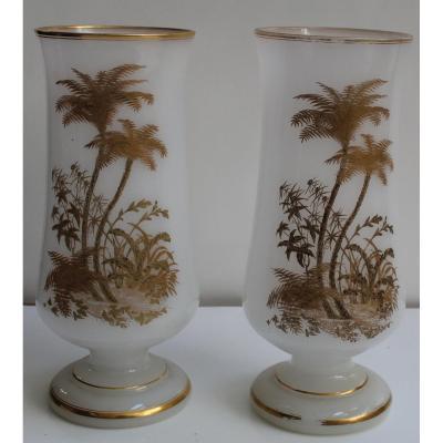 Pair Of White Opaline Vases