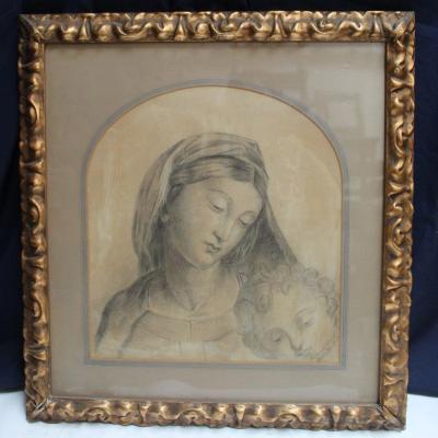 Dessin Vierge à l'Enfant Signé Ferdinand D'Orléans