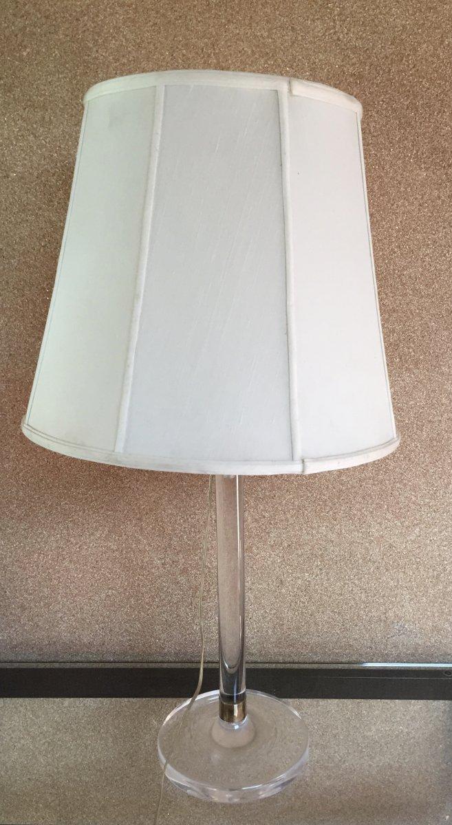 Lampe Plexi Et Laiton Circa 70