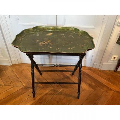 Side Table Composed Of A Napoleon III Period Papier Maché Tray And A Support.
