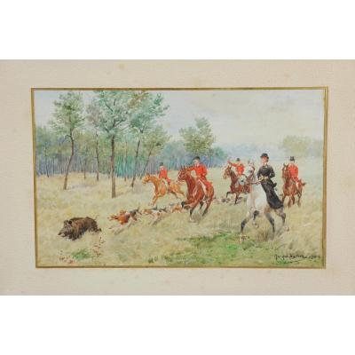 Ferme Roulant De Sanglier , scène de chasse, vénerie
