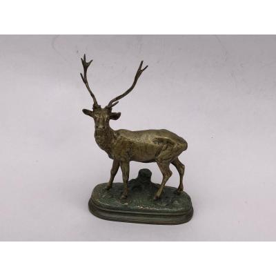 Bronze Animalier , bronze de chasse, Alfred Dubucand, Cerf Dix Cors