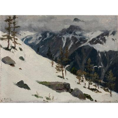 Rötig: The Mountain, Suite Of 4 Oils On Canvas Representing Mountain Landscapes.