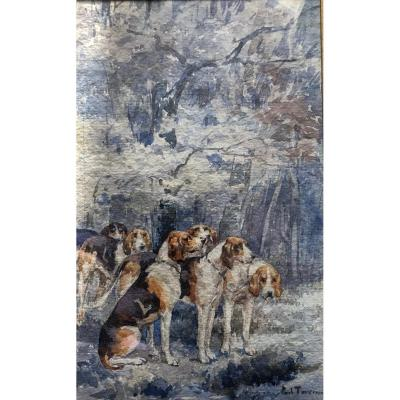 Paul Tavernier, Relay Hunting Dogs , Lebaudy Crew At Fontainebleau