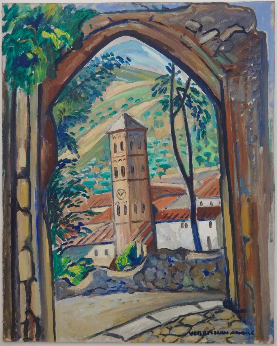 André Verdilhan (1881-1963) Hsp The Bell Tower In Moustiers