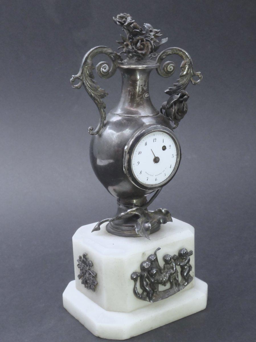 Moulinié Bautte & Cie 1804-1837  Pendule miniature de style Louis XVI en Argent massif montre de forme XIXe-photo-2