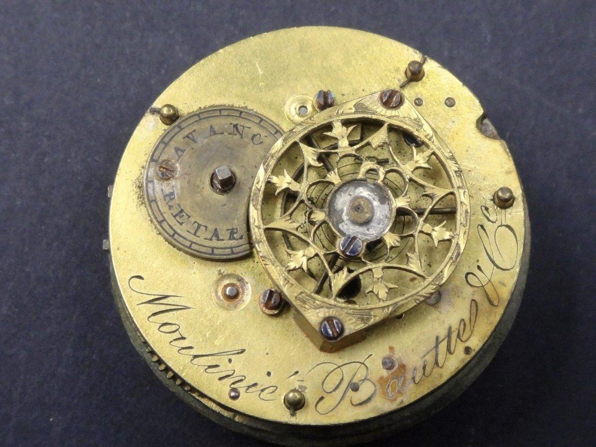 Moulinié Bautte & Cie 1804-1837  Pendule miniature de style Louis XVI en Argent massif montre de forme XIXe-photo-7