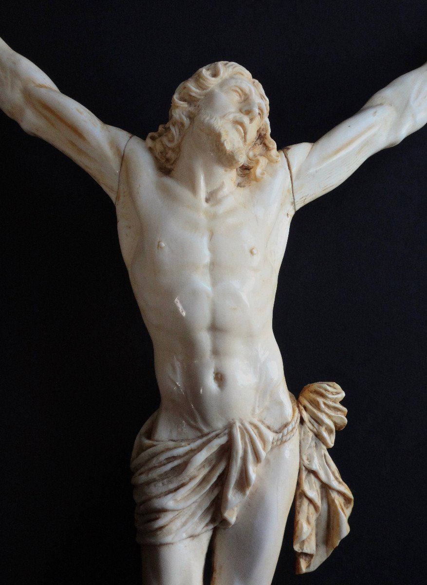 Large Christ In Ivory Carved In The Louis XIV Style, 19th Century -photo-2