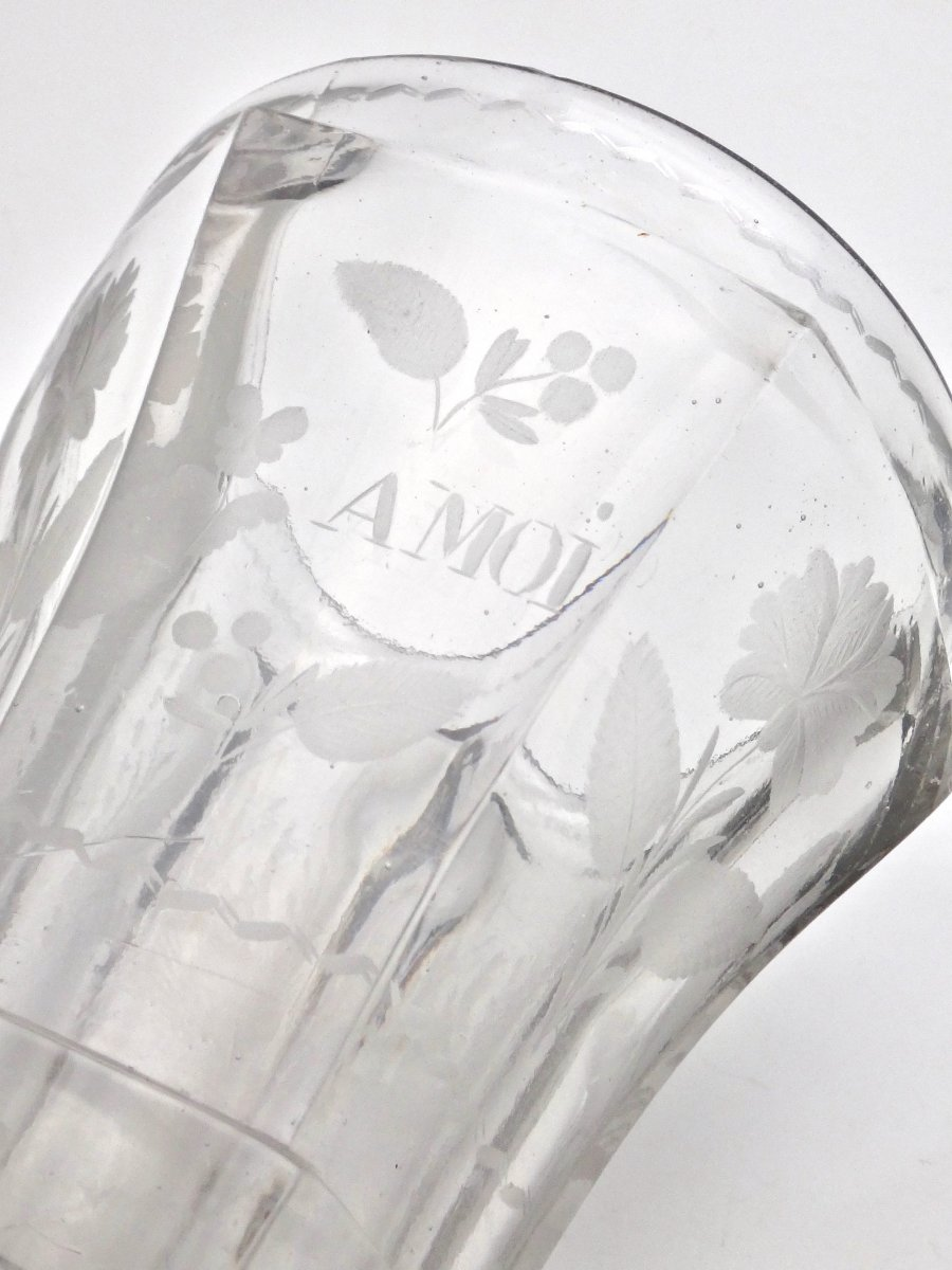 Very Large Goblet On Pedestal In Molded Crystal With Engraved Decoration 19th Empire Period -photo-1