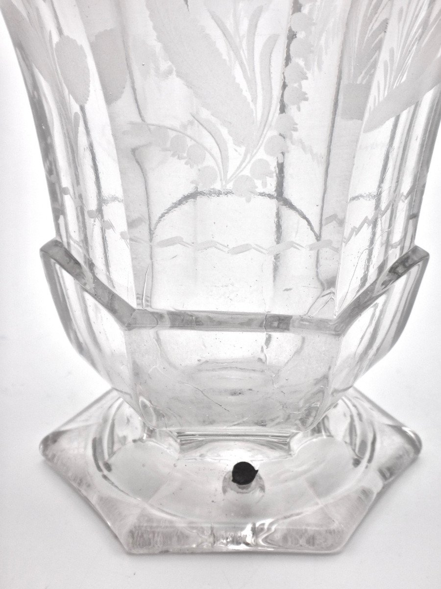 Very Large Goblet On Pedestal In Molded Crystal With Engraved Decoration 19th Empire Period -photo-6