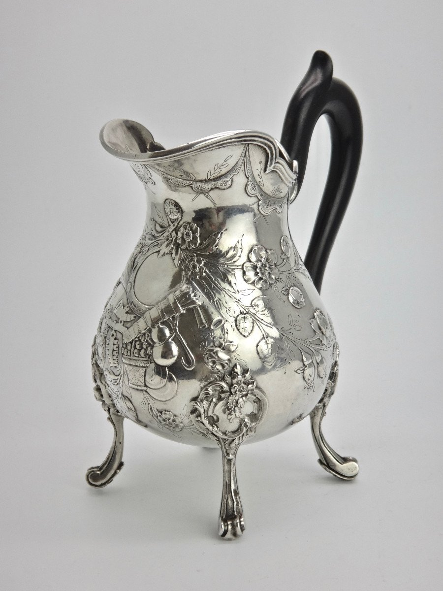 Pierre Pontus Tripod Milk Pot In Sterling Silver Eighteenth Time-photo-2