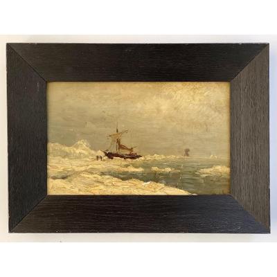 Louis Apol (1850-1936) Oil On Panel Signed Nova Zembla