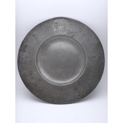 17th Century Cardinal Pewter Plate By Joseph Tavdin
