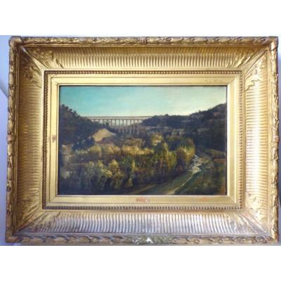 Auguste   TRUPHEME  (1836-1898) hst   vue  Sainte  Victoire  aqueduc  de  Roquefavour