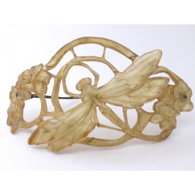 Lucien  Gaillard  (1861-1933)  Barrette  à  cheveux  libellule  époque  Art  Nouveau  1900