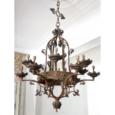 Large Chandelier In Wrought Iron And Gilding With Fleur De Lys Decor Nineteenth Time