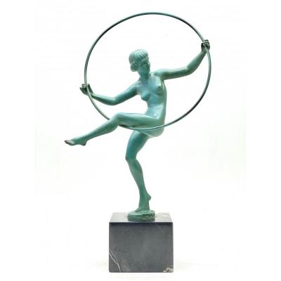 Naked Dancer Sculpture Signed Briand For Marcel Bouraine Art Deco Period 1930