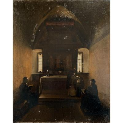 Huile sur toile XIXe attribuée à Marius François GRANET (1775-1849)