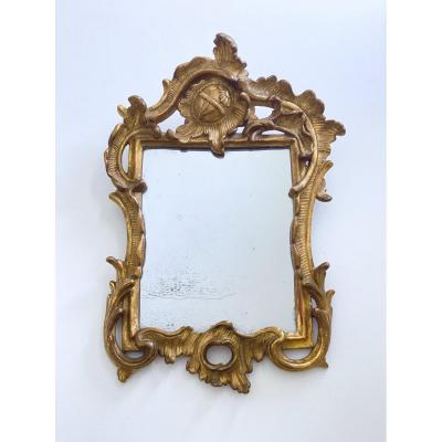 Small Louis XV Mirror In Gilded And Carved Wood, Rocaille Style