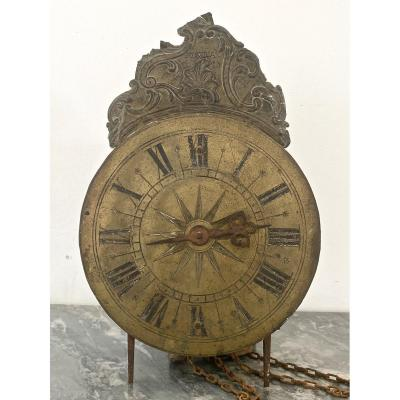 Bronze single-handed dial showing hours in Roman numerals&nbsp;<br /> <br /> surmounted by a brass pediment decorated with acanthus leaf scrolls&nbsp;<br /> <br /> and marked &quot;A AUVRAY&quot;.<br /> <br /> Movement with anchor escapement in a wrought iron cage with brass gears.<br /> <br /> &nbsp;TO RESTORE<br /> <br /> Sold &quot;as is&quot; with a broken back foot and the whole bell missing.<br /> <br /> <br /> VERY CAREFUL SHIPPING