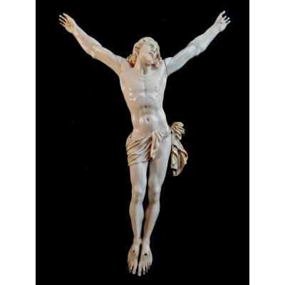 Large Christ In Ivory Carved In The Louis XIV Style, 19th Century