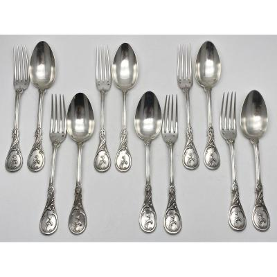 Veyrat In Paris Set Of 6 Cutlery With Entremets In The 19th Century Rocaille Style