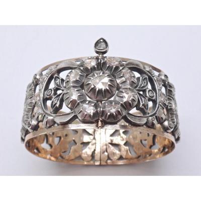 Bracelet Chichkhan ( Hadida Yamant ) Argent massif et Or 9K  serti de Diamants taillés en rose Tunisie époque XIXe