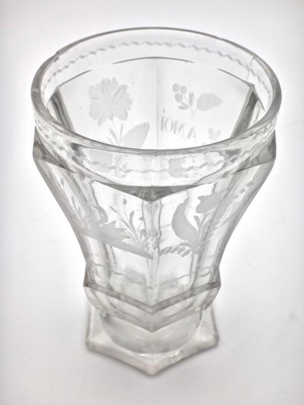 Very Large Goblet On Pedestal In Molded Crystal With Engraved Decoration 19th Empire Period -photo-3