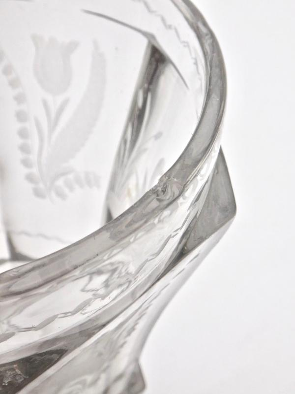 Very Large Goblet On Pedestal In Molded Crystal With Engraved Decoration 19th Empire Period -photo-4