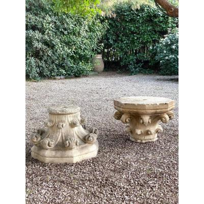 Pair Of Stone Capitals Transition From Romanesque To Gothic Style High Period 18th Century