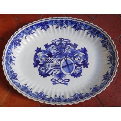 Large Earthenware Dish Decorated With 19th Century Coats Of Arms