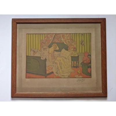 Pierre GATIER ( 1878 - 1944) Eau-forte et aquatinte signée et datée 1910 époque Art Nouveau