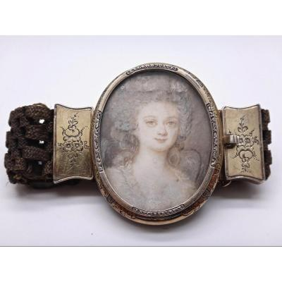 Hair Bracelet Decorated With A Miniature Mourning Vermeil Setting Late Eighteenth Century
