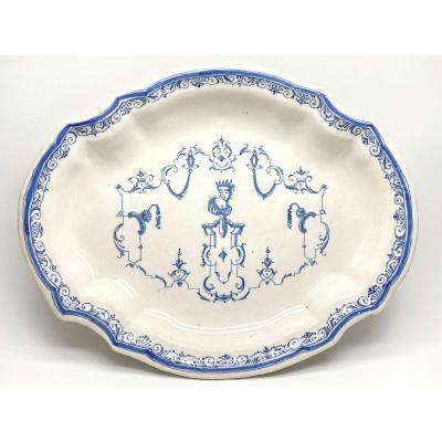 Moustiers Oblong Earthenware Dish In Blue Monochrome Decoration à La Bérain 18th Century