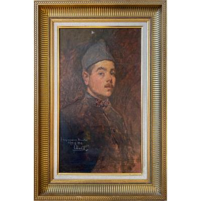 Oil On Canvas Portrait Of A Poilus Cavalry Regiment Signed, Dedicated And Dated 1916