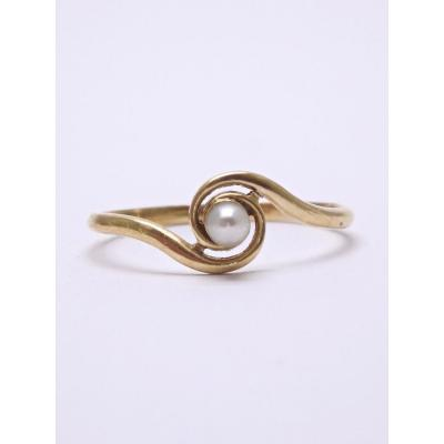 Tourbillon Ring In 18k Gold And Central Pearl T53 19th Time