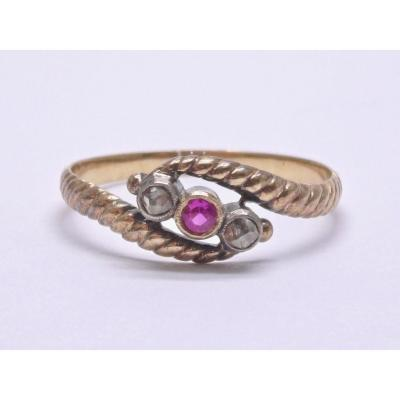 Ring Adorned With A Garnet And Pink Cut Diamonds In 18k Gold And Silver XIXth T56