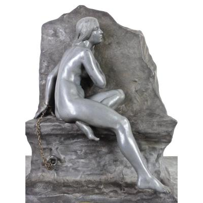 G.obiols ( 1858-1910 ) Tin Sculpture In Art Nouveau Style