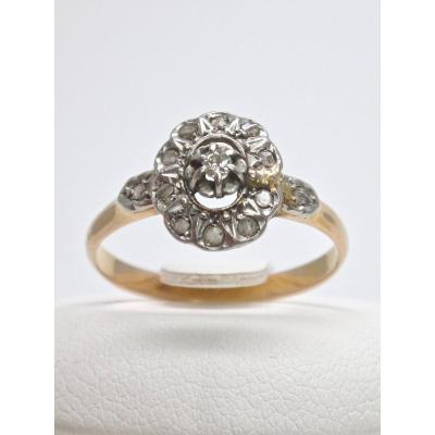 18k Gold Ring Adorned With Rose Cut Diamonds Nineteenth Time T54