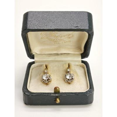 Pair Of Sleepers In 18k Gold And Platinum Adorned With Rhine Stones XIXth Century
